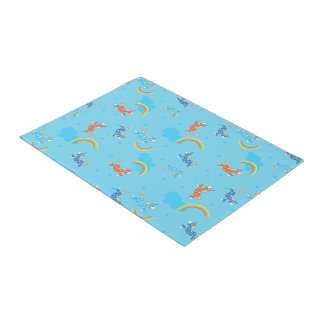 Cute Fun Unicorns rainbow blue cartoon pattern Doormat