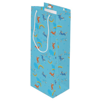 Cute Fun Unicorns rainbow blue cartoon pattern Wine Gift Bag