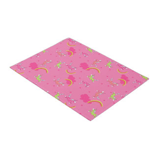 Cute Fun Unicorns rainbow pink cartoon pattern Doormat