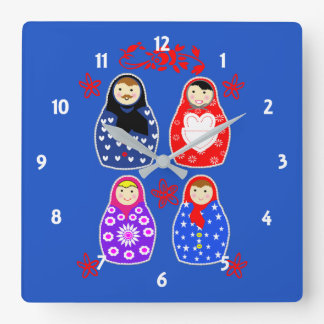Cute Fun Whimsy Matryoshka Russian Doll Graphic Square Wall Clock