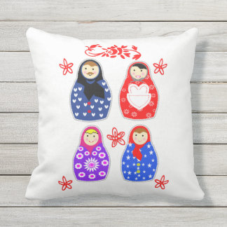 Cute Fun Whimsy Matryoshka Russian Doll Graphic Throw Pillow