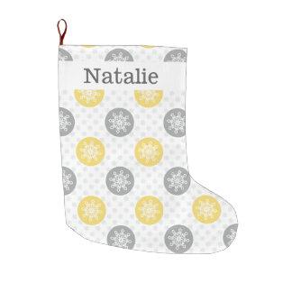 cute fun yellow gray, snowflakes stockings large christmas stocking