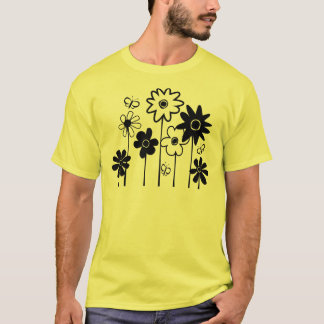 Cute Funky Assorted Flowers With Butterflies T-Shirt