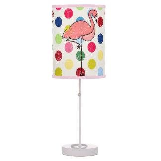 Cute Funky Flamingos Colorful Polka Dots Desk Lamp