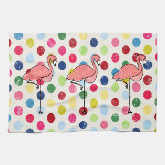 Cute Funky Flamingos Colorful Polka Dots Kitchen Towel
