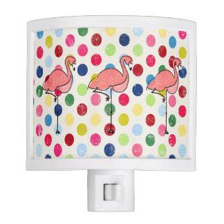 Cute Funky Flamingos Colorful Polka Dots Night Lites