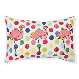 Cute Funky Flamingos Colorful Polka Dots Pet Bed