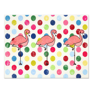 Cute Funky Flamingos Colorful Polka Dots Photo Print
