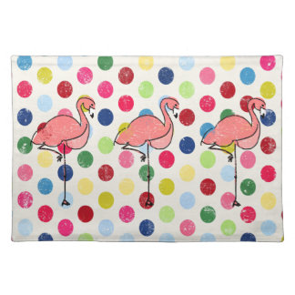 Cute Funky Flamingos Colorful Polka Dots Placemat