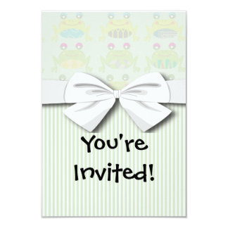 """cute funky happy frogs and stripes 3.5"""" x 5"""" invitation card"""