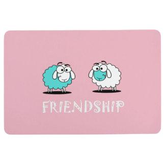 Cute Funky Turquoise White Sheep Friendship Mat