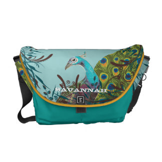 Cute Funky Vintage Peacock You Choose Colors Commuter Bag