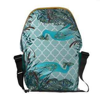 Cute Funky Vintage Peacocks You Choose Colors Courier Bags