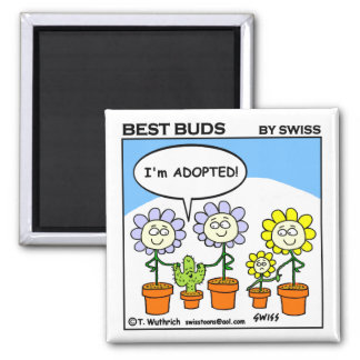 Cute Funny Adoption Cartoon Best Buds Magnet