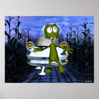 Cute funny alien u.f.o in cornfield 1 poster