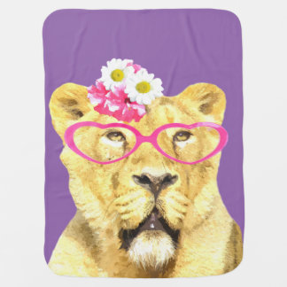 Cute funny animal lioness for baby / kids swaddle blankets