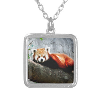 cute funny animal red panda silver plated necklace