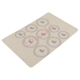 Cute Funny Birds Pattern Linen Texture Floor Mat