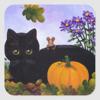Cute Funny Black Cat Mouse Fall Gift Creationarts Square Sticker