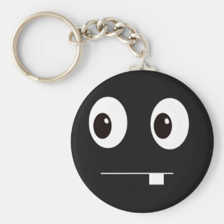 Cute funny black monster face cartoon basic round button keychain