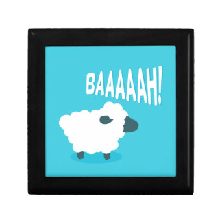 Cute funny blue cartoon bleating sheep jewelry boxes