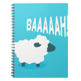 Cute funny blue cartoon bleating sheep notebooks