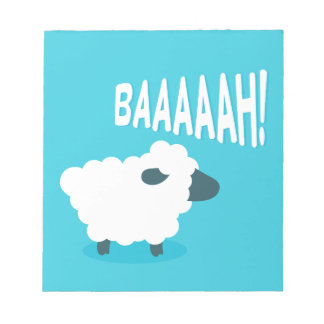 Cute funny blue cartoon bleating sheep notepad