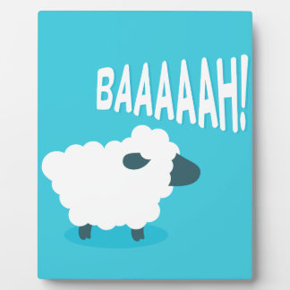 Cute funny blue cartoon bleating sheep plaque