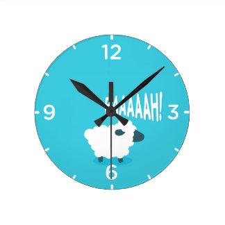 Cute funny blue cartoon bleating sheep wall clock
