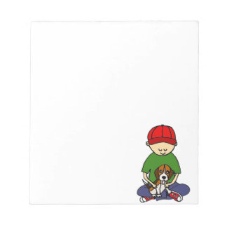 Cute Funny Boy with his Dog Cartoon Notepads
