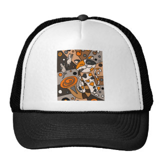 Cute Funny Calico Cat Playing Saxophone Art Trucker Hat