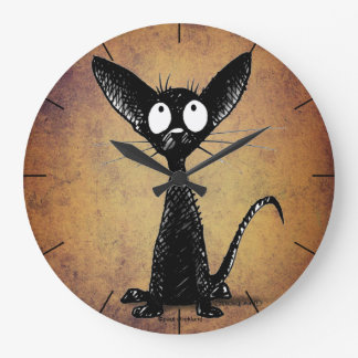Cute funny cartoon black cat large clock