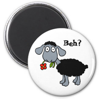 Cute Funny Cartoon Black Sheep Flower Customizable Magnet