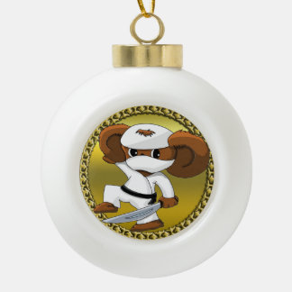 Cute funny cartoon Cheburashka bear with a sword Ceramic Ball Christmas Ornament