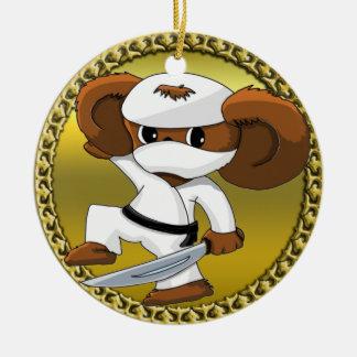 Cute funny cartoon Cheburashka bear with a sword Ceramic Ornament