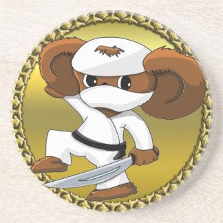 Cute funny cartoon Cheburashka bear with a sword Coaster