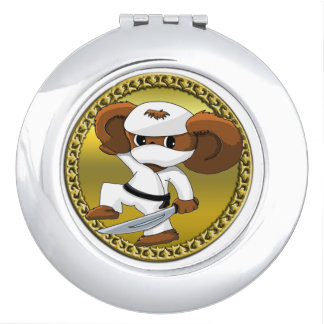 Cute funny cartoon Cheburashka bear with a sword Compact Mirrors