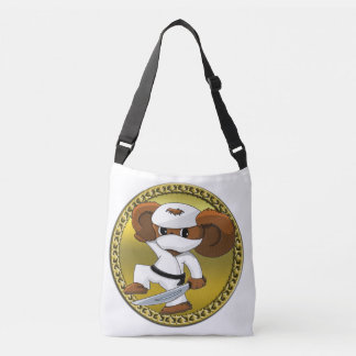 Cute funny cartoon Cheburashka bear with a sword Crossbody Bag