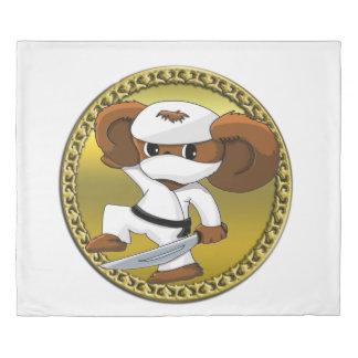 Cute funny cartoon Cheburashka bear with a sword Duvet Cover