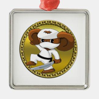 Cute funny cartoon Cheburashka bear with a sword Metal Ornament