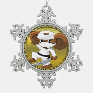 Cute funny cartoon Cheburashka bear with a sword Snowflake Pewter Christmas Ornament