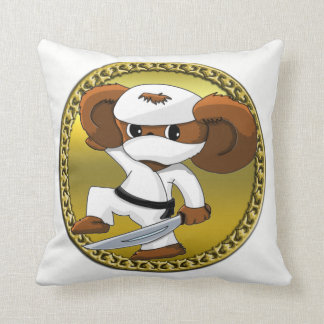 Cute funny cartoon Cheburashka bear with a sword Throw Pillow
