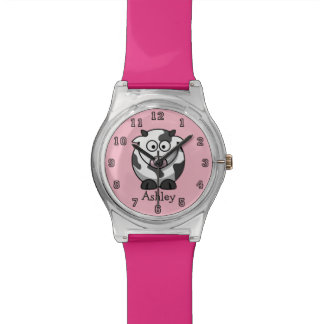 Cute Funny Cartoon Cow Personalized Watch