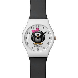 Cute Funny Cartoon Girl Penguin Personalized Watch