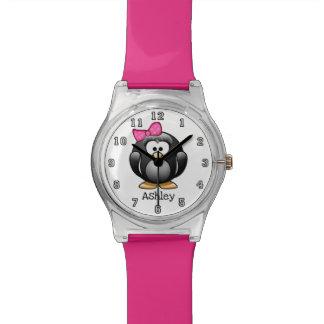 Cute Funny Cartoon Girl Penguin Personalized Watch