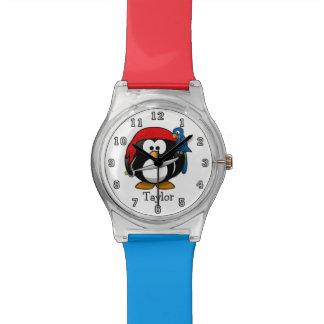 Cute Funny Cartoon Pirate Penguin Personalized Watch