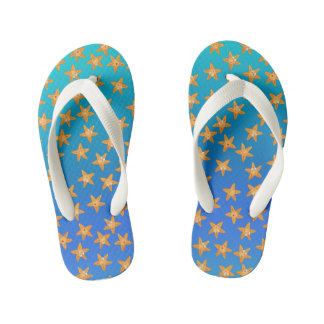 Cute funny cartoon sea star pattern kid's flip flops