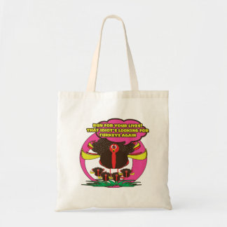 Cute & funny cartoon turkeys for thanksgiving budget tote bag