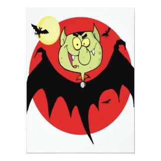 """cute funny cartoon vampire bat character 6.5"""" x 8.75"""" invitation card"""