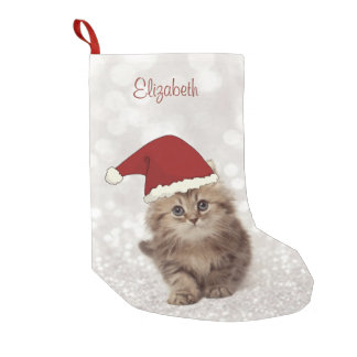 Cute Funny Cat With Santa Hat,Glittery Bokeh Small Christmas Stocking